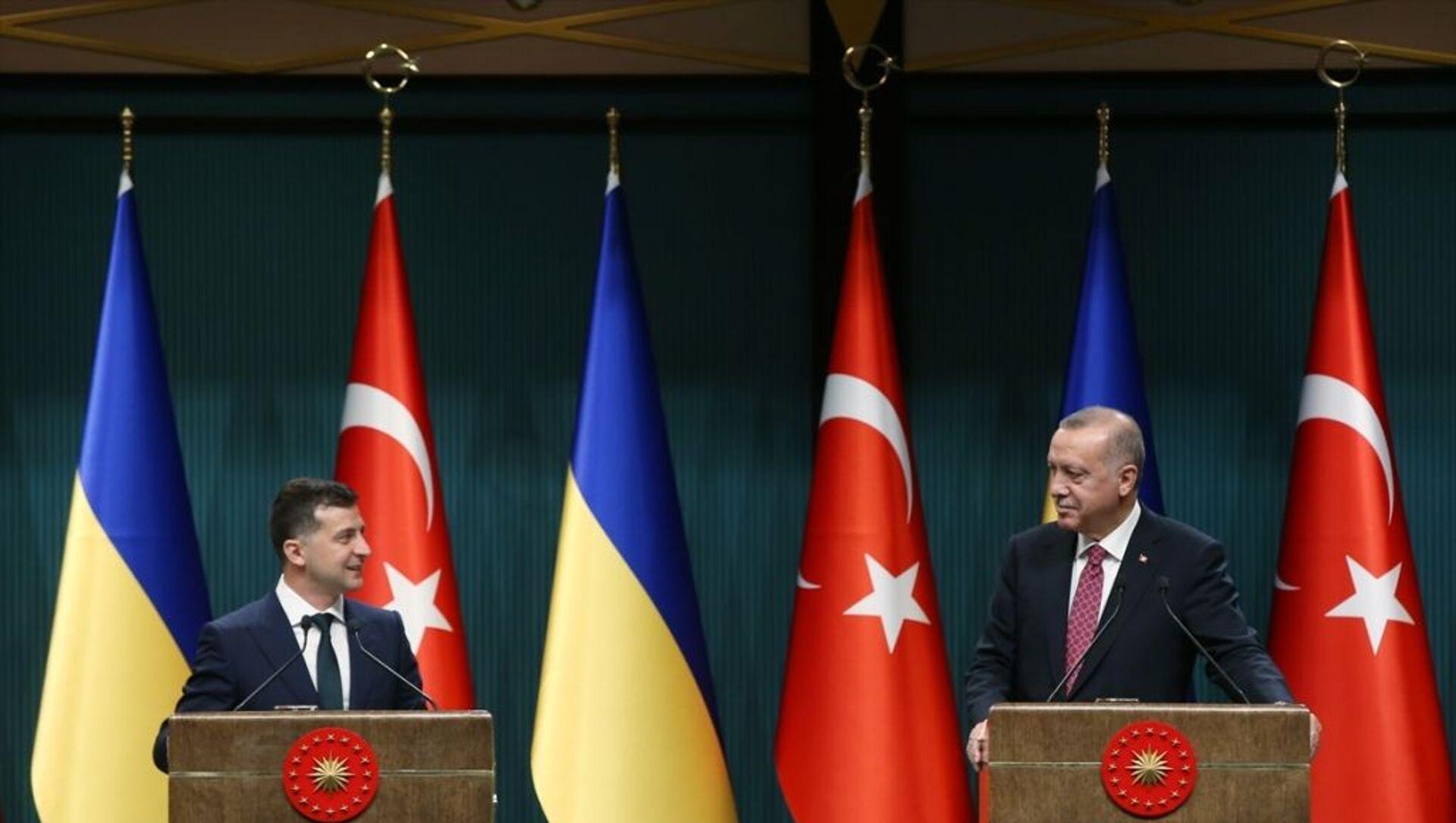Türkiye Cumhurbaşkanı Recep Tayyip Erdoğan, Ukrayna Devlet Başkanı Vladimir Zelenskiy ile baş başa ve heyetlerarası görüşmeler sonrası ortak basın toplantısı düzenledi. - Sputnik Türkiye, 1920, 30.07.2021
