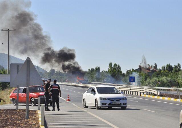 Konya'nın Akşehir ilçesinde mühimmat taşıyan kamyonda yangın çıktı