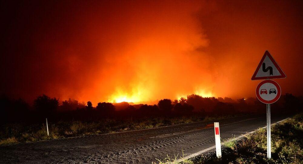 Çanakkale'nin Eceabat ilçesinde çıkan orman yangınını kontrol altına alma çalışmaları sürüyor.