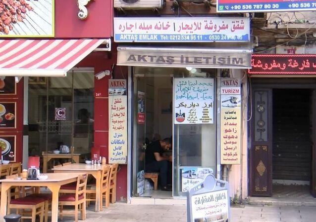 İstanbul Aksaray'da yine birçok tabela Arapça