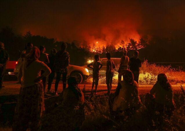 İzmir'deki orman yangını iki mahalleye yaklaştı