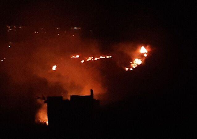 Hatay'ın Samandağ ilçesinde orman yangını meydana geldi.