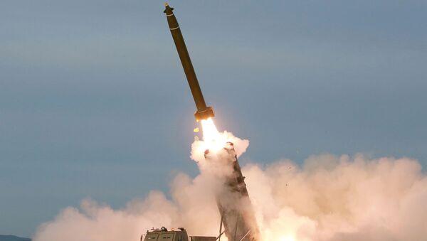 Kuzey Kore, yeni 'süper büyük' çoklu füze fırlatma sistemini denedi - Sputnik Türkiye