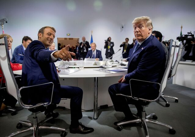 French President Emmanuel Macron and President Donald Trump participate in a G-7 Working Session on the Global Economy, Foreign Policy, and Security Affairs the G-7 summit in Biarritz, France August 25, 2019. Andrew Harnik/Pool via REUTERS