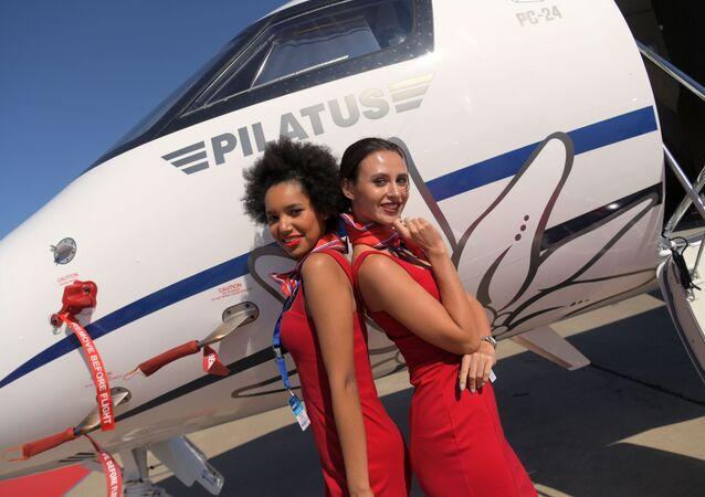 Rusya'nın Moskova bölgesinde düzenlenen Uluslararası Havacılık Fuarı MAKS-2019'dan bir kare.