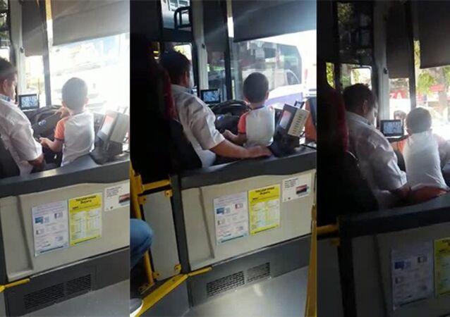 Çocuğa otobüs kullandıran kişi gözaltına alındı