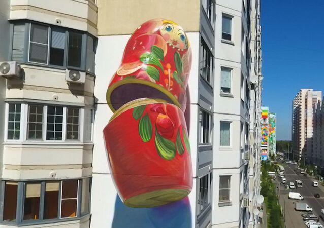 Moskova bölgesindeki binalar dev graffitilerle sanat eserlerine dönüştü