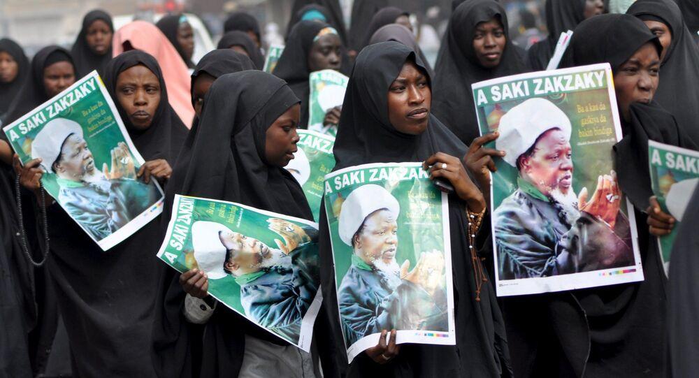 Şii Nijerya İslami Hareketi (IMN) lideri İbrahim Zakzaki için Kano şehrinde düzenlenen protesto