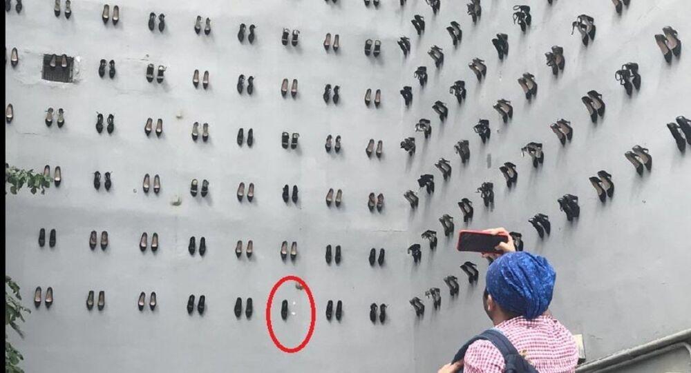 'Utanç duvarı: Kabataş Meclis-i Mebusan Caddesi'nde sanat platformu olarak kullanılan bina duvarına kadın cinayetlerine dikkat çekmek için kadın ayakkabıları yerleştirildi.