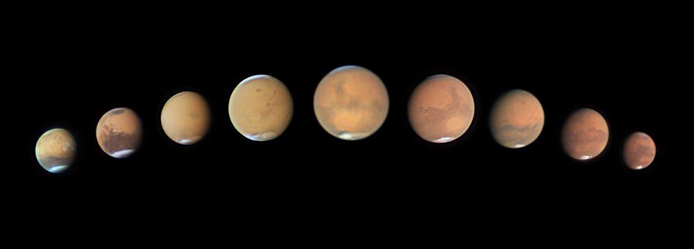 Yarışmanın 'Gezegenler, Kuyruklu Yıldızlar ve Gök Taşları' kategorisinde birincilik kazanan Avustralyalı fotoğrafçı Andy Casely'nin fotoğrafında Mars'taki toz fırtınası görüntülendi.
