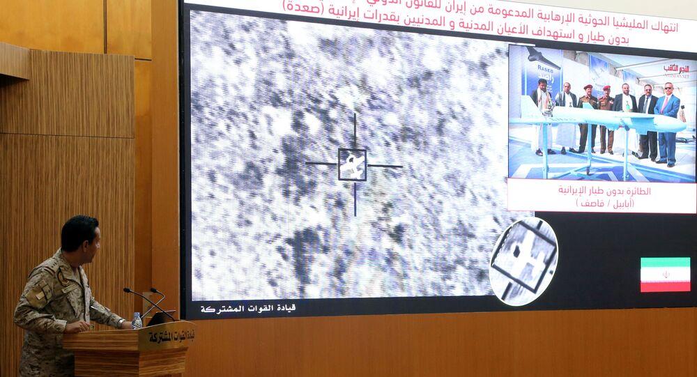 Yemen'e saldıran Suudi Arabistan liderliğindeki koalisyonun sözcüsü AlbayTurki el Maliki, Aramco saldırılarıyla ilgili basın toplantısı düzenleyip İran'ı sorumlu tuttu.