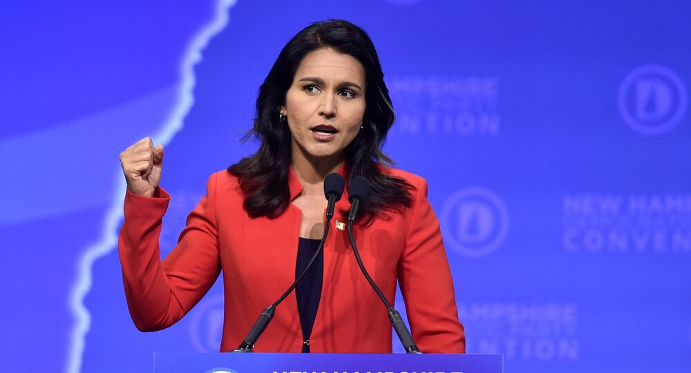 Democratic 2020 U.S. presidential candidate and U.S. Representative Tulsi Gabbard (D-HI) speaks at the New Hampshire Democratic Party state convention in Manchester, New Hampshire, U.S. September 7, 2019.      REUTERS/Gretchen Ertl