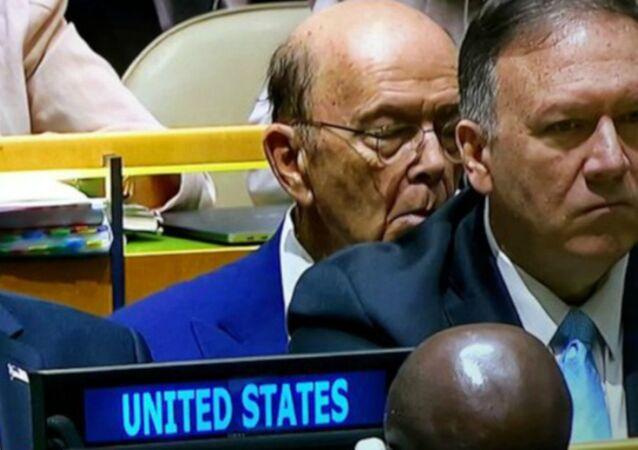 ABD Ticaret Bakanı Wilbur Ross, Başkan Donald Trump'ın BM Genel Kurulu'ndaki konuşması sırasında şekerleme yaptı.