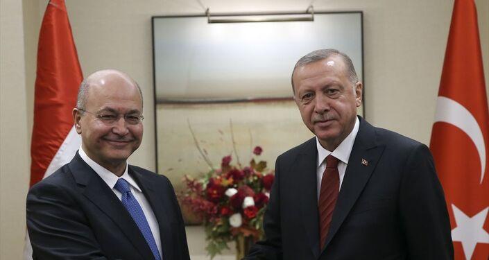 Türkiye Cumhurbaşkanı Recep Tayyip Erdoğan ve Irak Cumhurbaşkanı Berham Salih