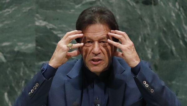 Pakistan Başbakanı İmran Han 74. BM Genel Kurulu'na hitap ederken - Sputnik Türkiye