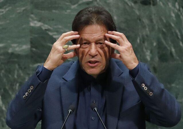 Pakistan Başbakanı İmran Han 74. BM Genel Kurulu'na hitap ederken