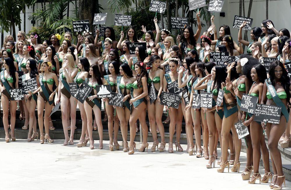 Dünyanın dört bir yanından 85 güzel aday, 26 Ekim'de  düzenlenecek Miss Earth 2019 yarışması finalinde taç kazanmak için podyumda boy gösterecek.