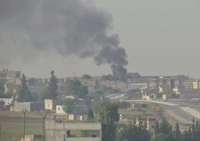 Barış Pınarı Harekatı'nın 3. gününde Akçakale'den görülen Tel Abyad manzarası