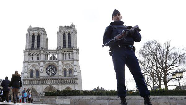 Fransa'da başkent Paris'teki Notre Dame Katedrali önünde nöbet tutan polis-2016 - Sputnik Türkiye