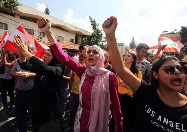 Lübnan'ın güneyindeki Nebatiye'de hükümet karşıtı protesto, 20 Ekim 2019