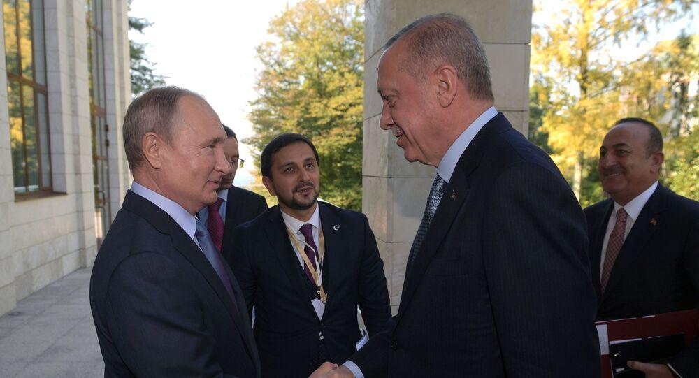 Erdoğan ile Putin'in Soçi'deki görüşmesinden kareler