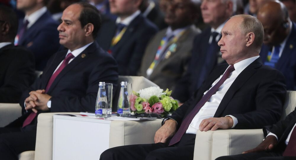 Soçi'de başlayan  ilk Rusya-Afrika zirvesine Rusya Devlet Başkanı Vladimir Putin ve Mısır Cumhurbaşkanı Abdülfettah el Sisi (solda) başkanlık ediyor.
