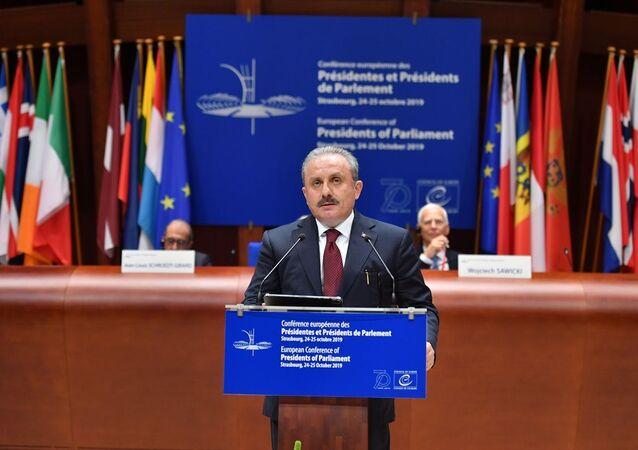 TBMM Başkanı Mustafa Şentop, Avrupa Konseyi'nde düzenlenen Avrupa Parlamento Başkanları Toplantısı'na katılarak konuşma yaptı.