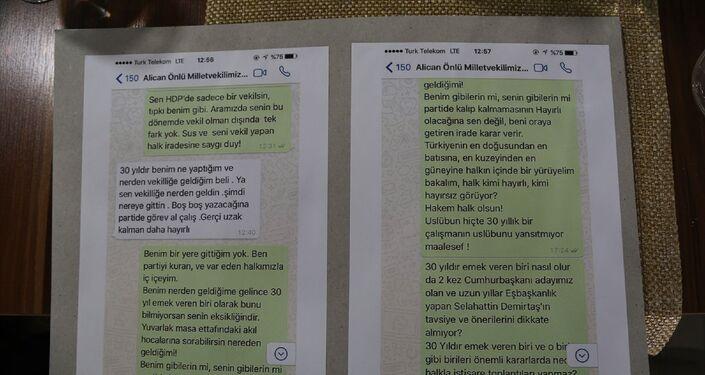 Aslan, HDP Milletvekili Alican Ünlü ile arasında geçen WhatsApp mesajlarını basınla paylaştı.