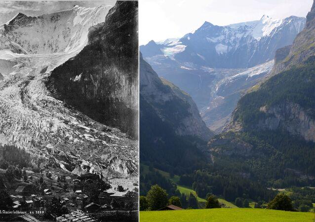 Aşağı Grindelwald Buzulu'nun 1865 yılına ait fotoğrafı (solda) ve 2019 yılına ait fotoğrafı (sağda)