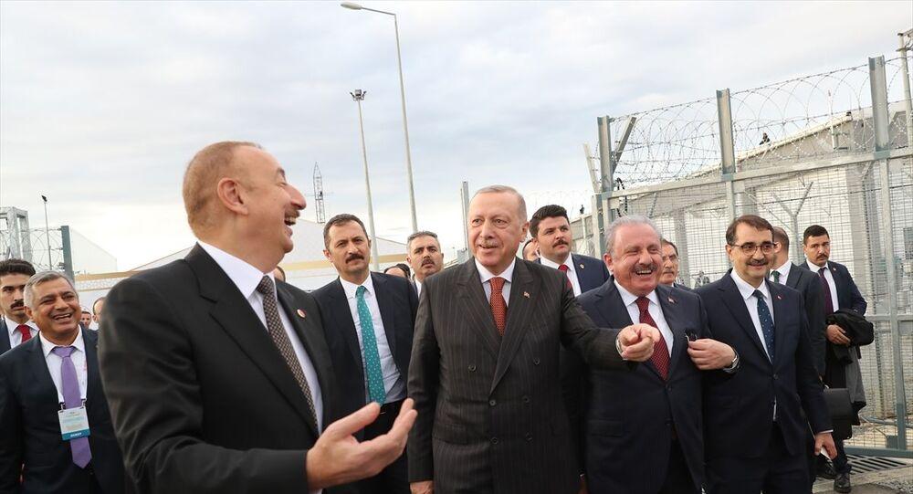 Türkiye Cumhurbaşkanı Recep Tayyip Erdoğan (sağ 3), Edirne'nin İpsala ilçesi Sarıcaali Köyü'ndeki MS4 Trans Anadolu Doğal Gaz Boru Hattı'nın (TANAP) Avrupa bağlantısı açılış törenine katılarak konuşma yaptı. Törene, Azerbaycan Cumhurbaşkanı İlham Aliyev (solda), TBMM Başkanı Mustafa Şentop (sağ 2) ve Enerji ve Tabii Kaynaklar Bakanı Fatih Dönmez de (sağda) katıldı.