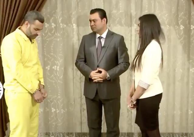 Ezidi kadın Aşvak Hacı Hamid'in kendisine tecavüz eden IŞİD'li Ebu Humam'a hesap sorduğu video,Irak Medya Ağı kanalında yayımlandı.