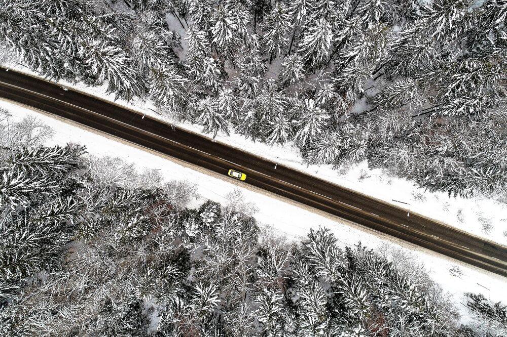 Başkent Moskova'daki Troitsk Ormanı'ndan geçen otoyolunun kış manzarası.