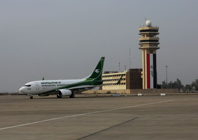 An Iraqi Airways plane arrives at Baghdad airport, Iraq, Tuesday, Jan. 27, 2015