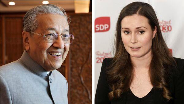 Görevdeki en yaşlı başbakan unvanına sahip olan Malezyalı siyasetçi Mahathir Muhammed, Finlandiya'da koltuğa oturmaya hazırlanan 'dünyanın en genç başbakanı' Sanna Marin'e bir nasihatte bulundu. - Sputnik Türkiye