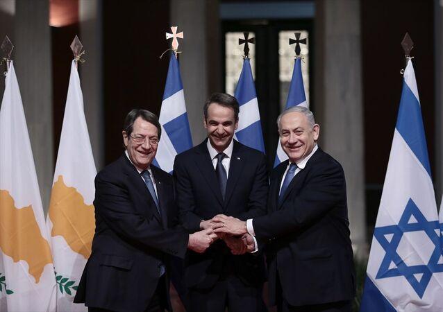 Yunanistan'ın başkenti Atina'da Kıbrıs, Yunanistan ve İsrail arasında Eastmed (Doğu Akdeniz doğal gaz boru hattı) projesinin inşası için anlaşma imzalandı.
