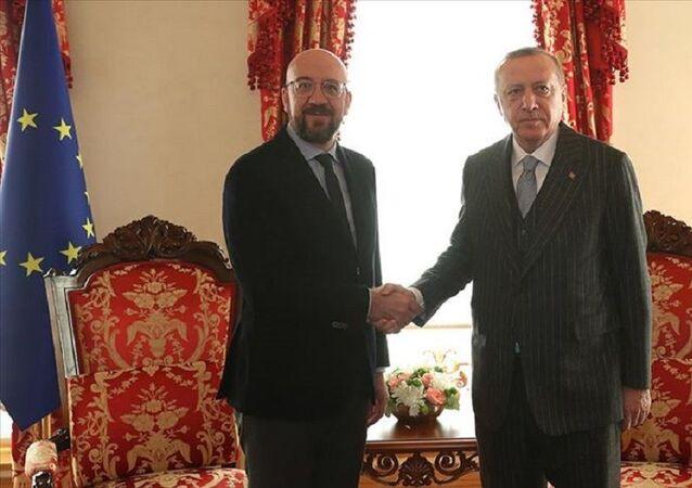 Cumhurbaşkanı Erdoğan AB Konseyi Başkanı Charles Michel
