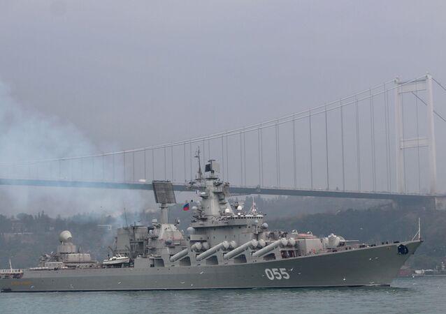 İstanbul ve Çanakkale Boğazları'ndan geçen Rus Mareşal Ustinov füze kruvazörü Akdeniz'e ilerliyor