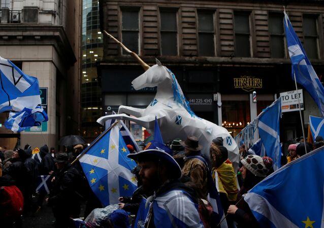 Glasgow şehrinde bağımsız İskoçya talebiyle yürüyüş