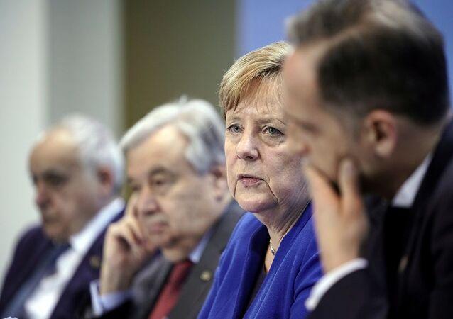 Berlin'deki Libya Konferansı (sırasıyla) BM Libya Temsilcisi Salame, BM Genel Sekreteri Guterres, Almanya Başbakanı Merkel, Almanya Dışişleri Bakanı Maas.