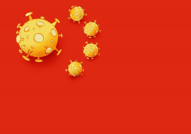 Koronavirüs sembolüyle çizilen Çin bayrağı