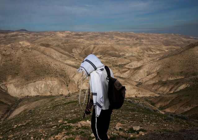 İsrail işgali altındaki Batı Şeria'nın Ürdün Vadisi'ndeki bir Yahudi yerleşiminde Yahudi dua şalına sarınmış bir çoban