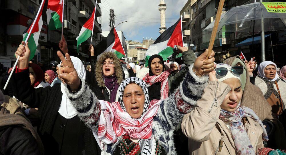 Ürdün başkenti Amman'da Trump'ın 'Yüzyılın Anlaşması'nı protesto edenler (31 Ocak 2020)