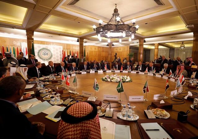 A general view shows a meeting of the Arab League's foreign ministers after U.S. President Donald Trump announced his Middle East peace plan, in Cairo, Egypt,