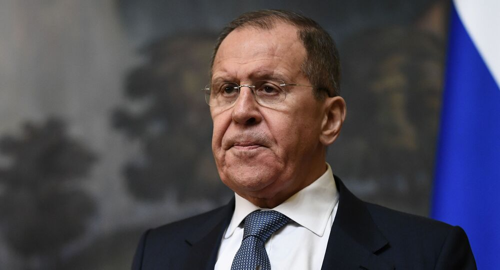 Russian Foreign Minister Sergey Lavrov attends a joint news conference following a meeting with his Swedish counterpart Ann Linde, in Mosco, Russia.