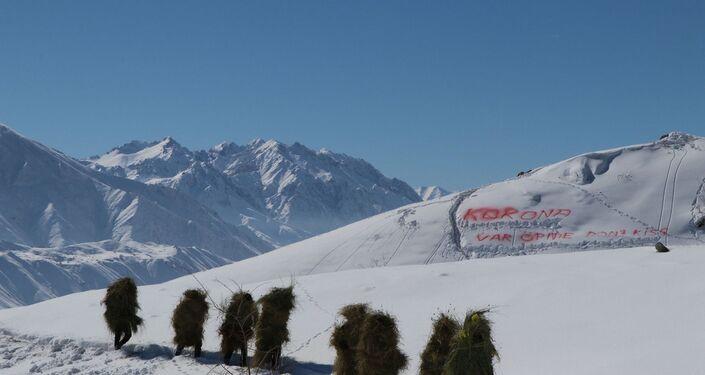 Hakkari'nin Demirtaş köyündeki 2 bin 800 rakımlı karla kaplı dağa çıkan Aydın, köylülerle birlikte okuduğu şarkının klibinde kuru otlarla üzerini kamufle edip, yer yer 1.5 metreyi bulan karda yürüdü.