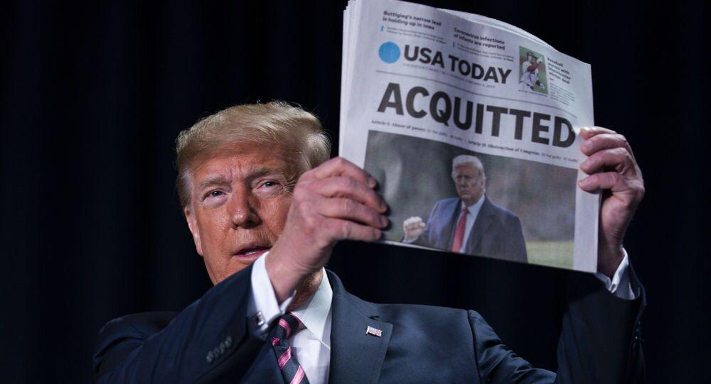 Trump, Senato'da dün hakkındaki azil suçlamalarından aklanması hakkında konuşma yaptı.