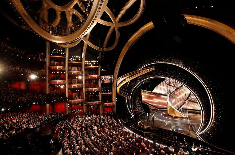 Oscar Ödülleri töreninin geleneksel olarak yapıldığı Los Angeles kentindeki Dolby Tiyatrosu'ndan bir kare.