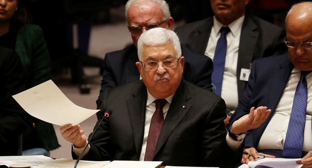Palestinian President Mahmoud Abbas speaks during a Security Council meeting at the United Nations in New York