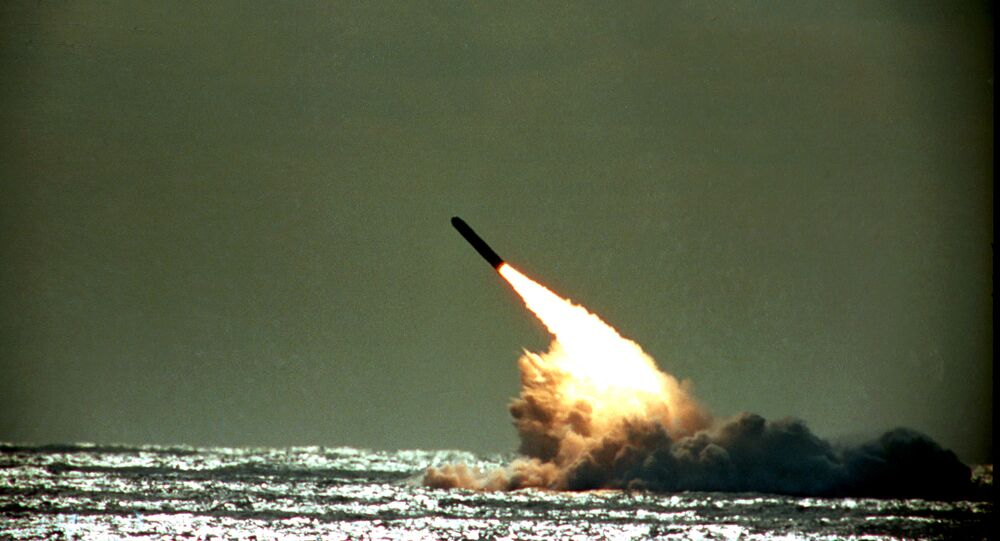 Dec. 4, 1989 file photo shows the launch of a Trident II, D-5 missile from the submerged USS Tennessee submarine in the Atlantic Ocean off the coast of Florida. As of mid-2010, 12 operational U.S. nuclear-missile submarines carry a total of 288 Trident missiles. A movement is growing worldwide to abolish nuclear weapons, encouraged by President Barack Obama's endorsement of that goal. But realists argue that more stability and peace must first be achieved in the world.