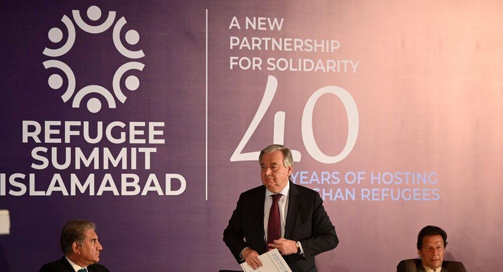 Antonio Guterres - Pakistan Başbakanı İmran Han -  Pakistan Dışişleri Bakanı Şah Mahmud Kureyşi